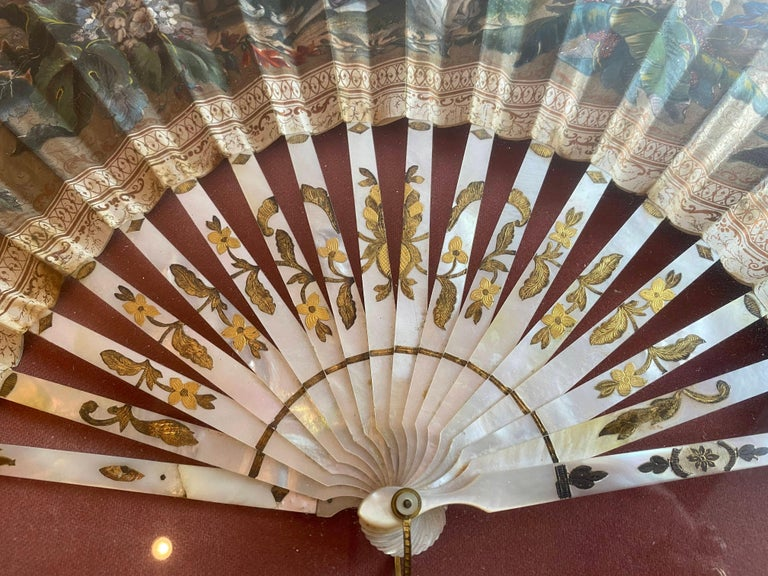 19th Century French Painted Paper and Mother of Pearl Fan For Sale 8