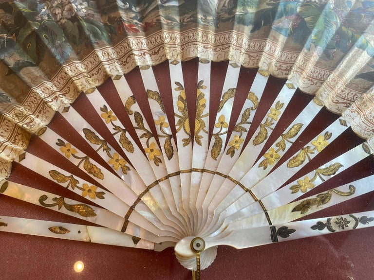 19th Century French Painted Paper and Mother of Pearl Fan For Sale 9