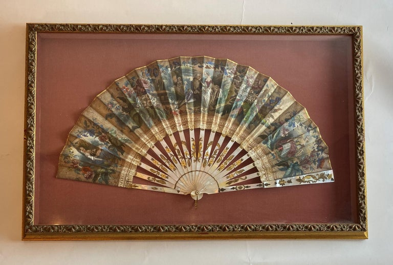 French Provincial 19th Century French Painted Paper and Mother of Pearl Fan For Sale