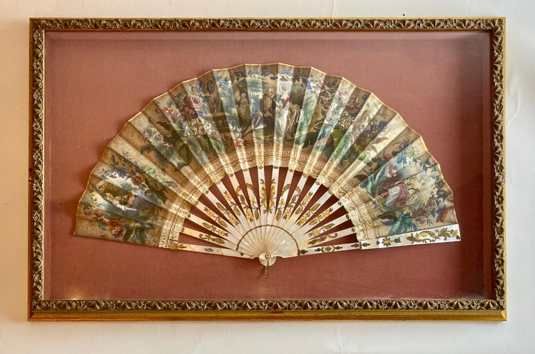 Hand-Carved 19th Century French Painted Paper and Mother of Pearl Fan For Sale