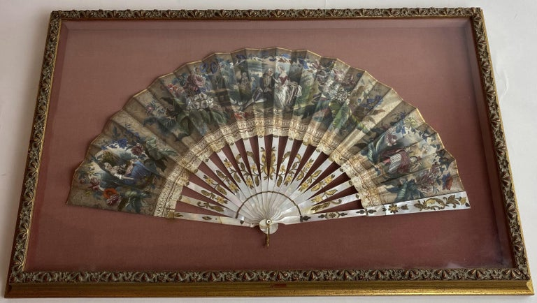 19th Century French Painted Paper and Mother of Pearl Fan In Good Condition For Sale In Brea, CA