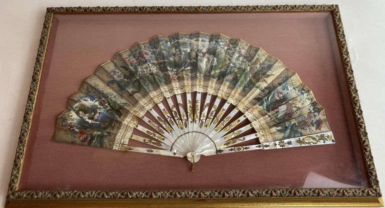 Mid-19th Century 19th Century French Painted Paper and Mother of Pearl Fan For Sale