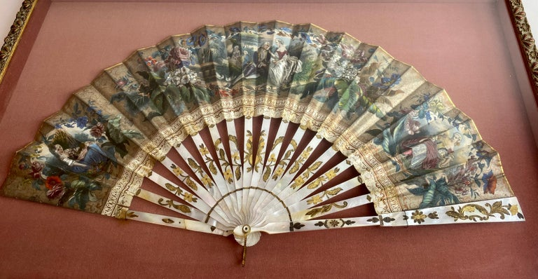 Mother-of-Pearl 19th Century French Painted Paper and Mother of Pearl Fan For Sale