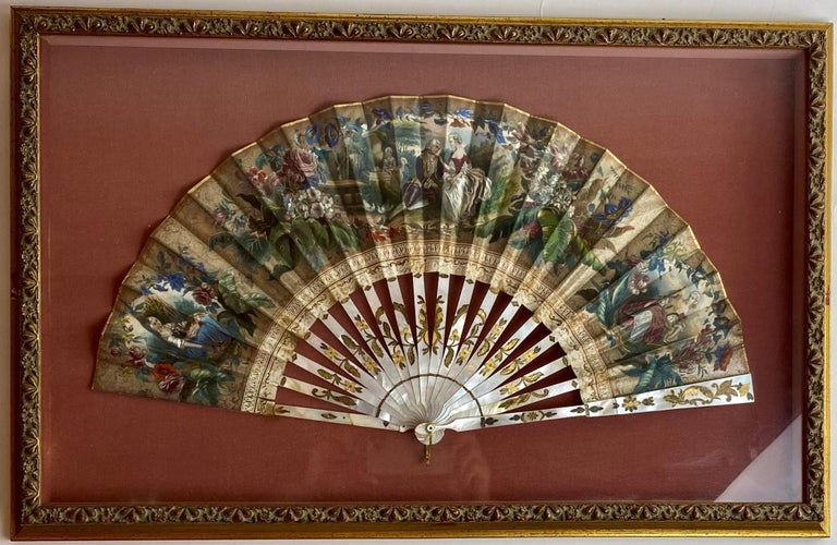 19th Century French Painted Paper and Mother of Pearl Fan For Sale 1