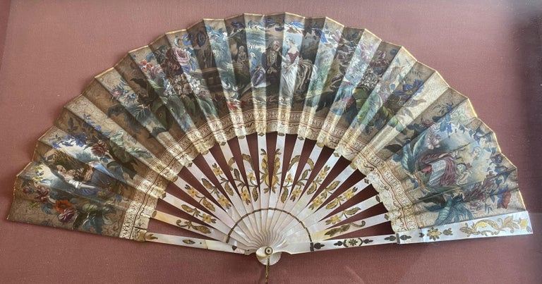 19th Century French Painted Paper and Mother of Pearl Fan For Sale 2