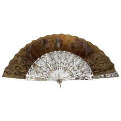 19th Century French Painted Paper and Mother of Pearl Fan