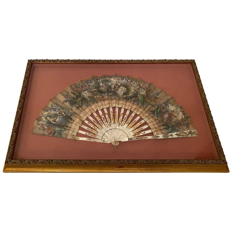 19th Century French Painted Paper and Mother of Pearl Fan For Sale
