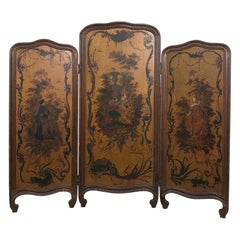 19th Century French Painted Paravent, Fireplace Screen