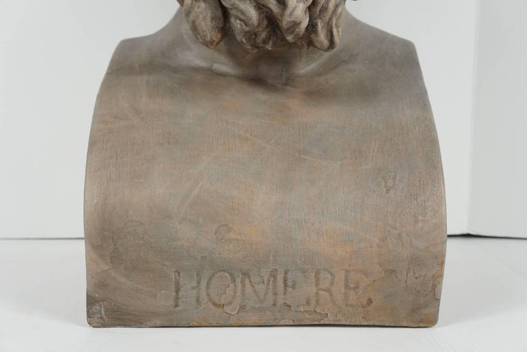19th Century French Painted Plaster Bust of Homere 1