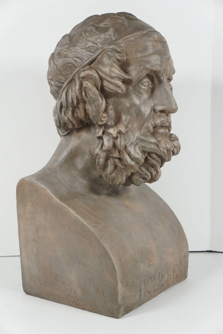 19th Century French Painted Plaster Bust of Homere 3