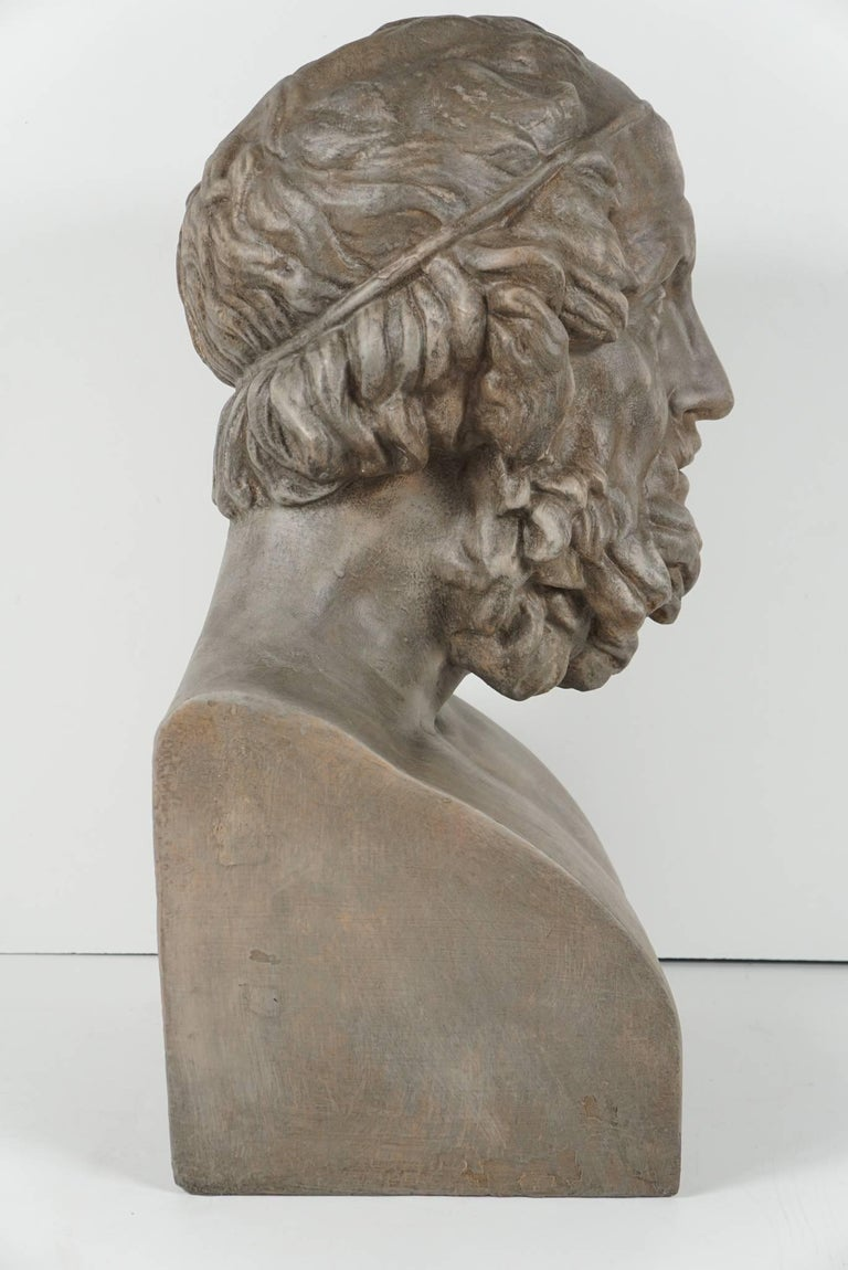 19th Century French Painted Plaster Bust of Homere 4