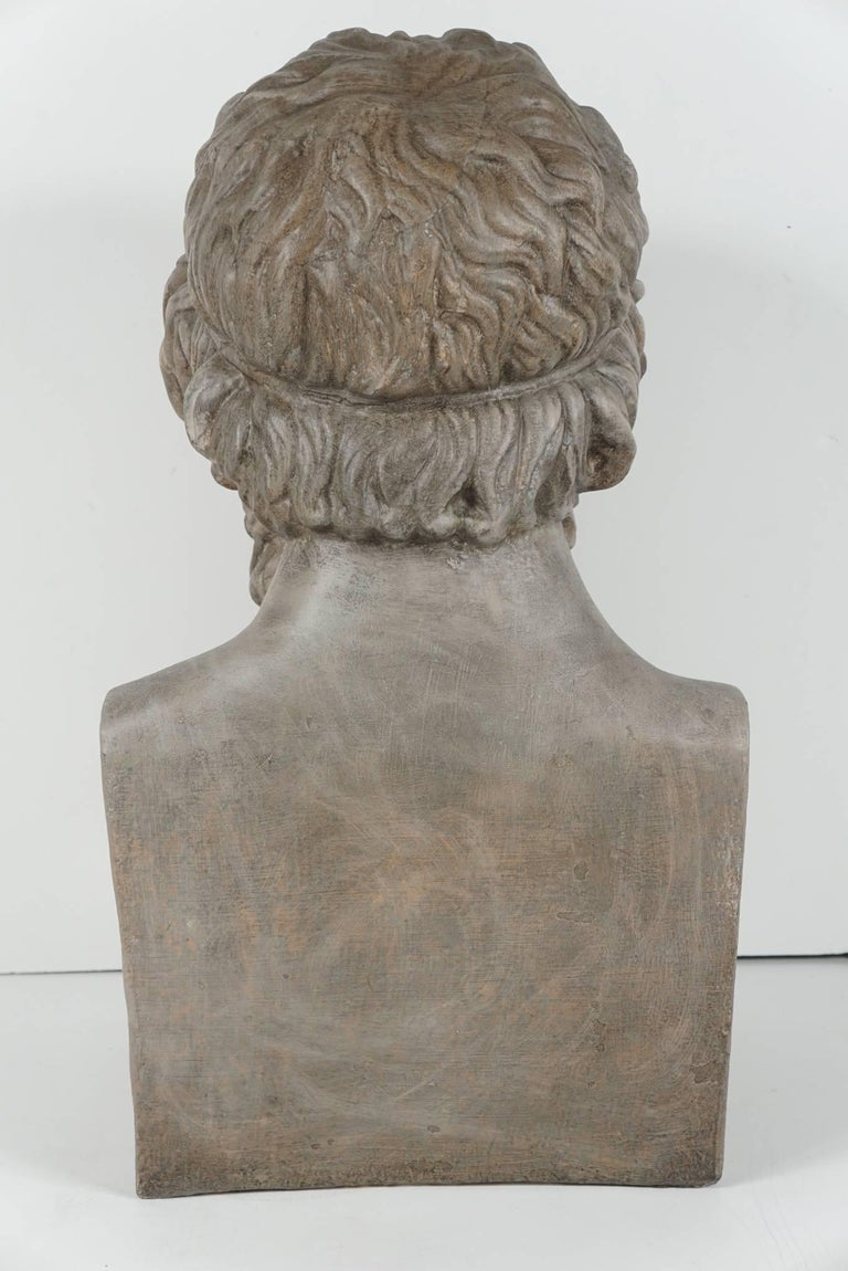 19th Century French Painted Plaster Bust of Homere 5