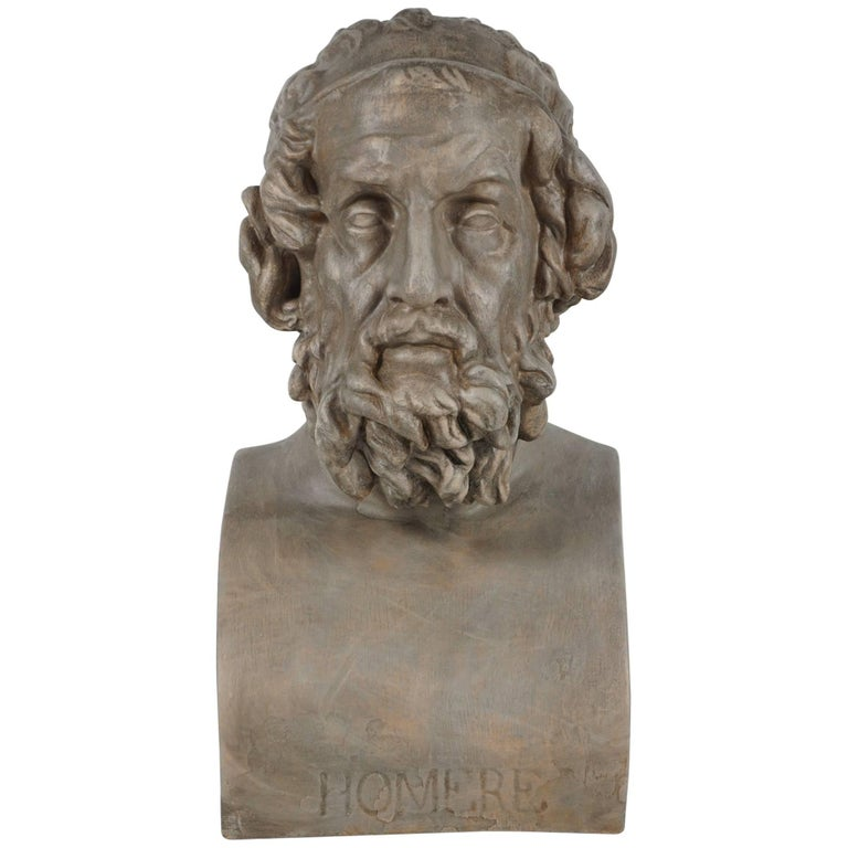 19th Century French Painted Plaster Bust of Homere