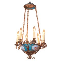 19th Century French Painted Porcelain and Brass Sevres Six-Light Chandelier