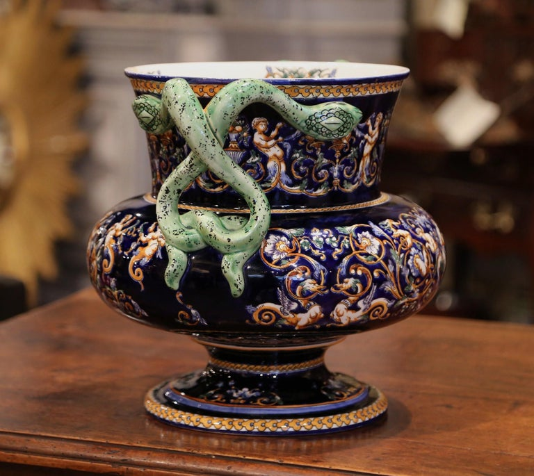 19th Century French Painted Porcelain Cache Pot with Snake Handles from Gien For Sale 2