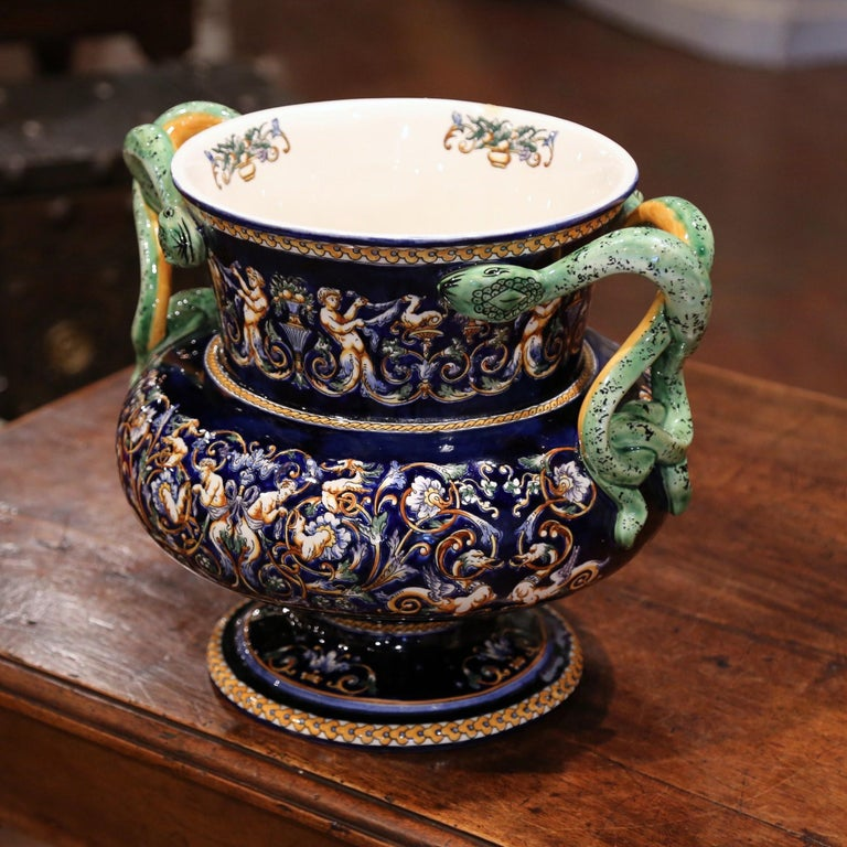 19th Century French Painted Porcelain Cache Pot with Snake Handles from Gien For Sale 3