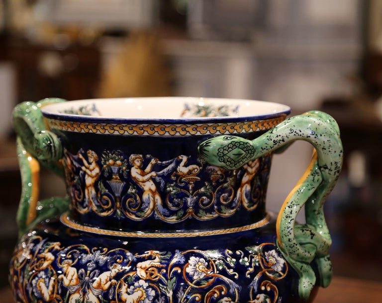 19th Century French Painted Porcelain Cache Pot with Snake Handles from Gien For Sale 4