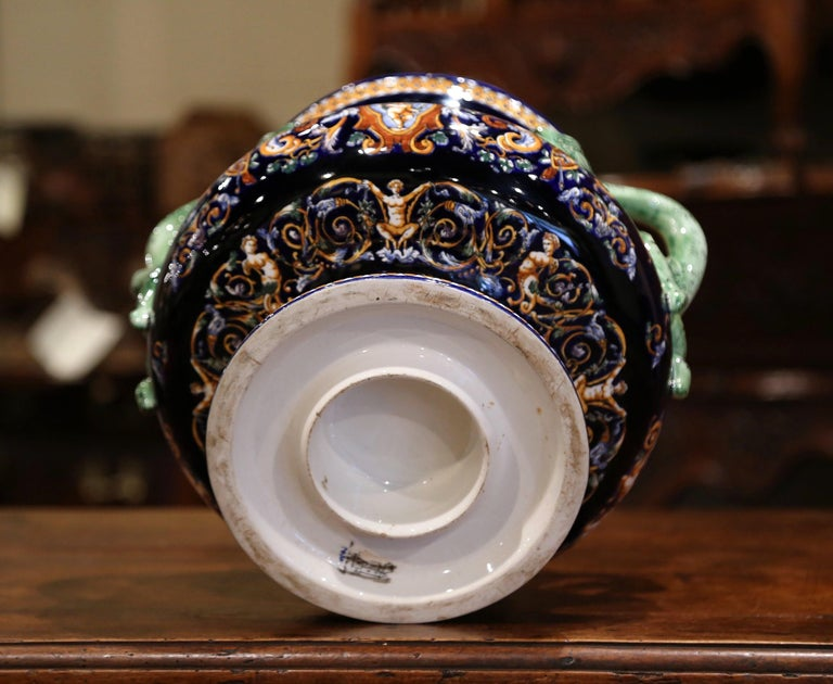 19th Century French Painted Porcelain Cache Pot with Snake Handles from Gien For Sale 5