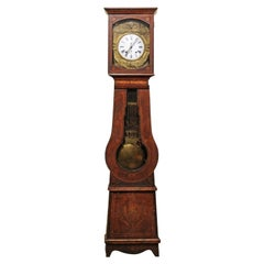 19th Century French Painted Tallcase Clock with Enameled Face