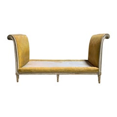19th Century French Painted Window Bench with Silk Yellow Upholstery