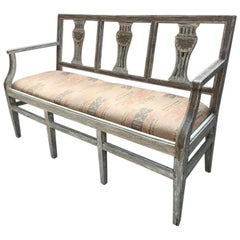 19th Century French Painted Wooden Sofa with Original Kilim Fabric Seat, 1890s