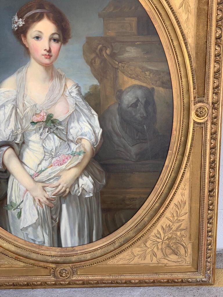19th Century French Painting D'après Jean-Baptiste Greuze, the Broken Pitcher For Sale 11