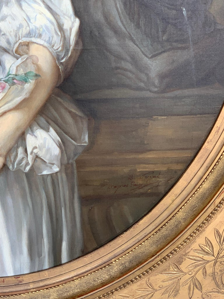 19th Century French Painting D'après Jean-Baptiste Greuze, the Broken Pitcher For Sale 6