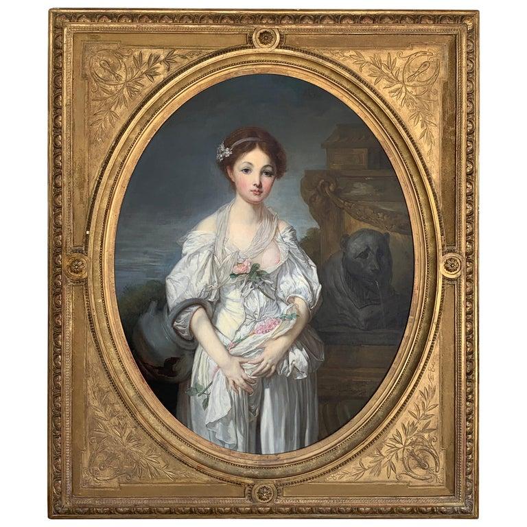 19th Century French Painting D'après Jean-Baptiste Greuze, the Broken Pitcher For Sale