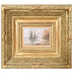 "19th Century French Painting ""Lovely Riverside Landscape"" Watercolor on Paper"