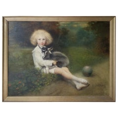 19th Century French Painting of an Aristocratic Young Boy with His Pet Goat