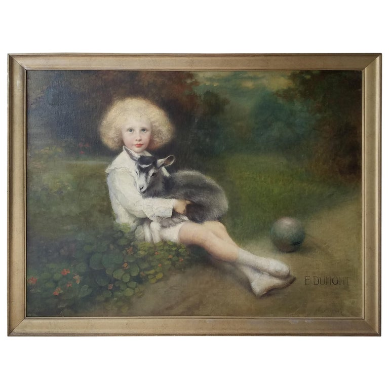 19th Century French Painting of an Aristocratic Young Boy with His Pet Goat For Sale