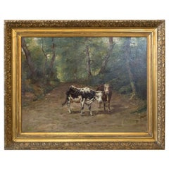19th Century French Painting of Cows on a Forest Path by Emile Godchaux, Signed