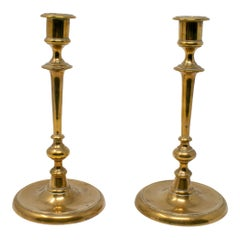 19th Century French Pair of Bronze Candlesticks