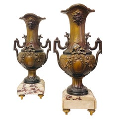 19th Century French Pair of Bronze Vases in Brown Patina on Marble Base