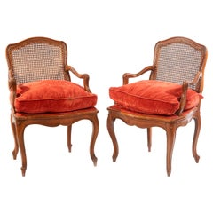 19th Century French Pair of Cane Armchairs with Velvet Seats, Regency Epoque