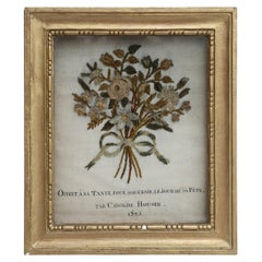 19th Century French Pair of Framed Antique Velvet Bouquets