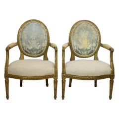 19th Century French Pair of Giltwood Louis XVI Chairs