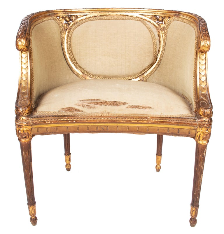 19th Century French Pair of Gold Gilded Wooden Armchairs For Sale 8