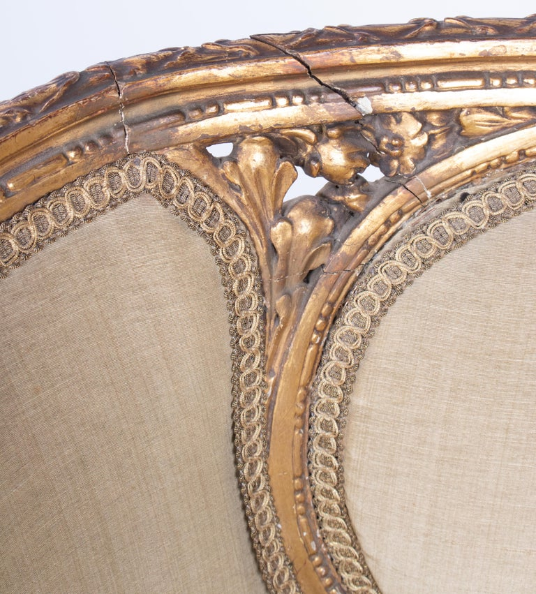 19th Century French Pair of Gold Gilded Wooden Armchairs For Sale 10