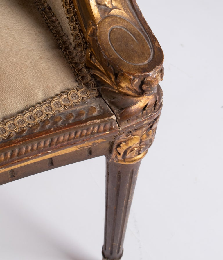 19th Century French Pair of Gold Gilded Wooden Armchairs For Sale 11