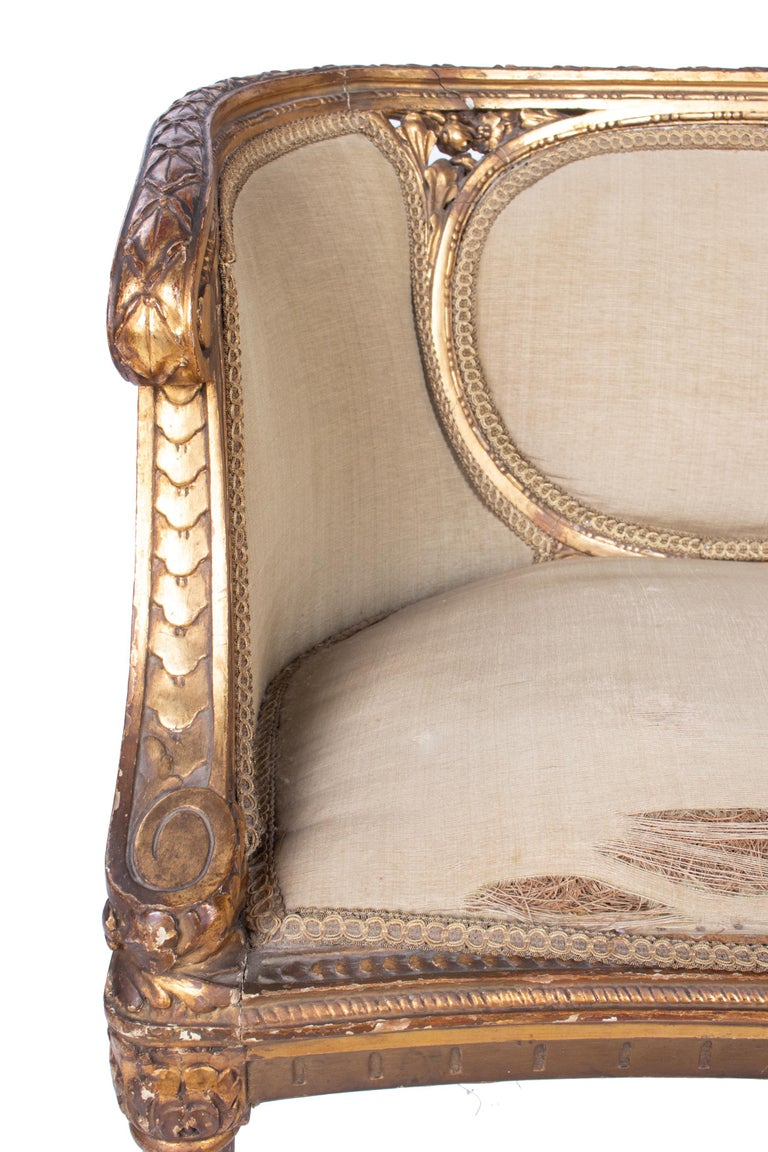 19th Century French Pair of Gold Gilded Wooden Armchairs For Sale 12