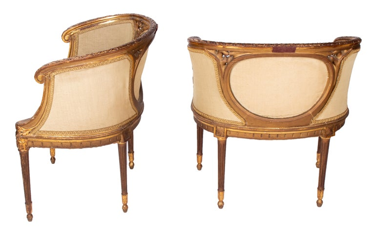 19th Century French Pair of Gold Gilded Wooden Armchairs In Good Condition For Sale In Malaga, ES