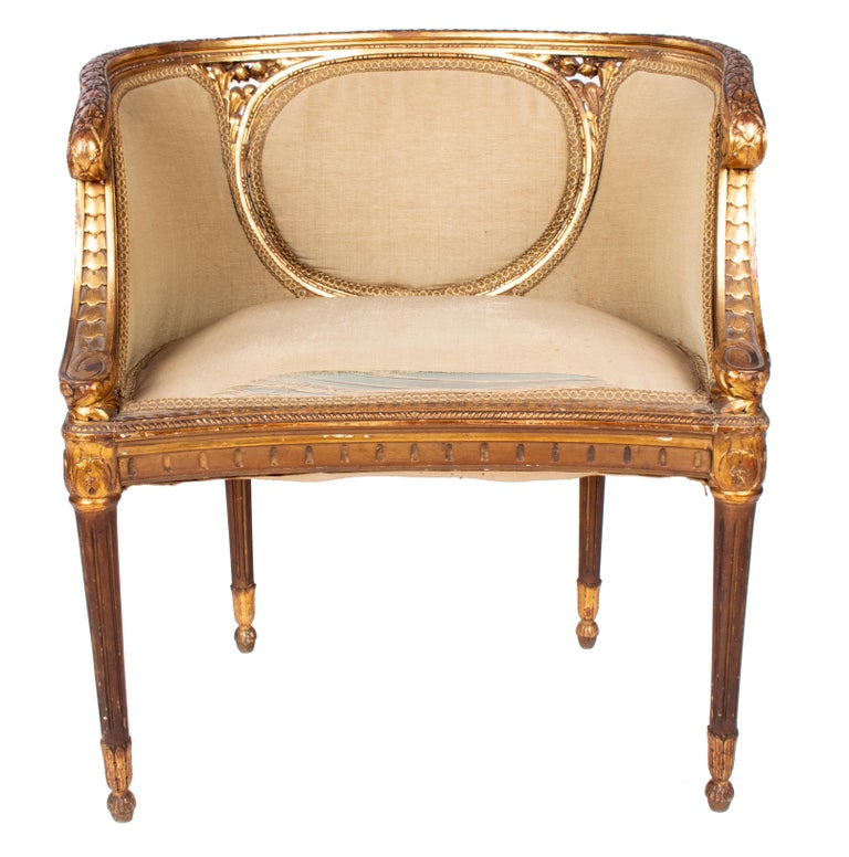 19th Century French Pair of Gold Gilded Wooden Armchairs For Sale 2
