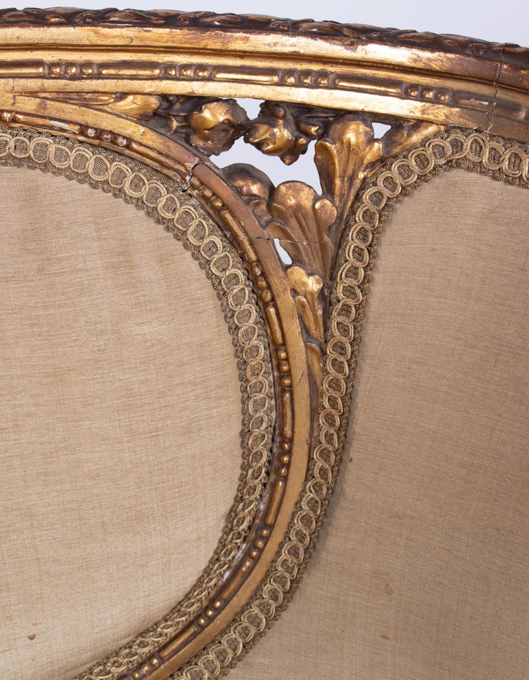 19th Century French Pair of Gold Gilded Wooden Armchairs For Sale 5