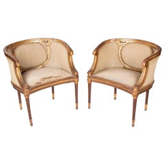 19th Century French Pair of Gold Gilded Wooden Armchairs