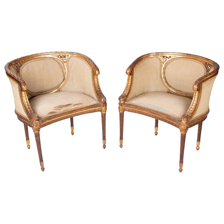19th Century French Pair of Gold Gilded Wooden Armchairs For Sale