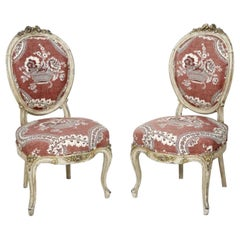 19th Century French Pair of Hand Carved Chairs in Louis XVI Style