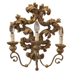 19th Century French Pair of Hand Carved Giltwood Sconces