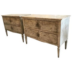 19th Century French Pair of Hand Decorated Wooden Chest of Drawers, 1890s