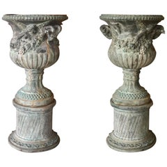 19th Century French Pair of Large Bronze Jardinières with Goddess, Ram's Heads
